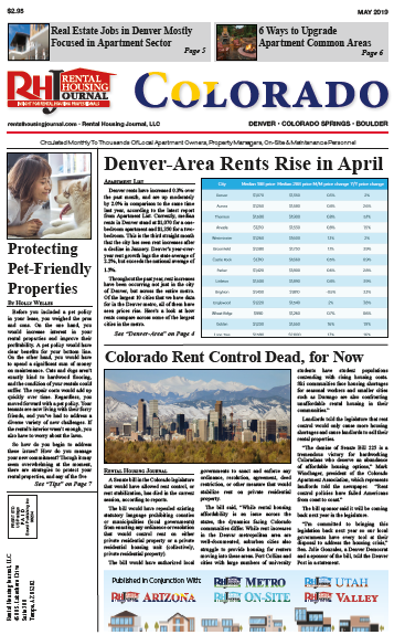 Rental Housing Journal Colorado May 2019 helpful, useful information for property managers and landlords