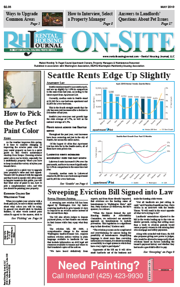 Washington Rental Housing Journal Seattle On-Site Puget Sound Print Edition for May 2019 with helpful, useful information for property managers and landlords