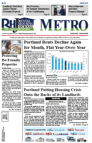 Portland rents decline again for the month and are flat year-over-year.