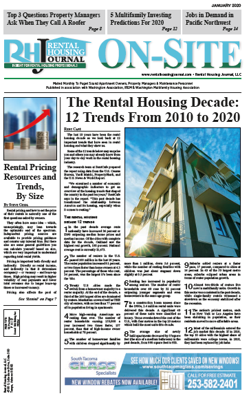 Rental Housing Journal On-Site Seattle Washington Puget Sound Edition January 2020