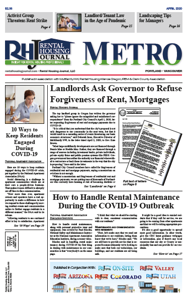 Rental Housing Journal Portland Metro and Oregon Valley April 2020